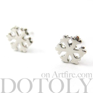 Small Snowflake Shaped Star Stud Earrings in Silver