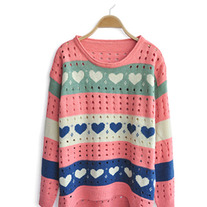 Pink Loose Heart Dipped Hem Sweater
