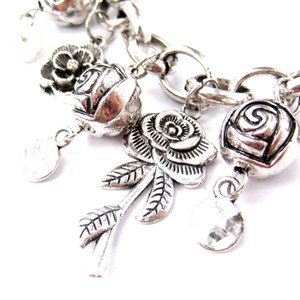 Detailed Rose Shaped Floral Flower Charm Bracelet in Silver
