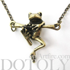 Baby Frog on a Branch Animal Charm Necklace in Bronze
