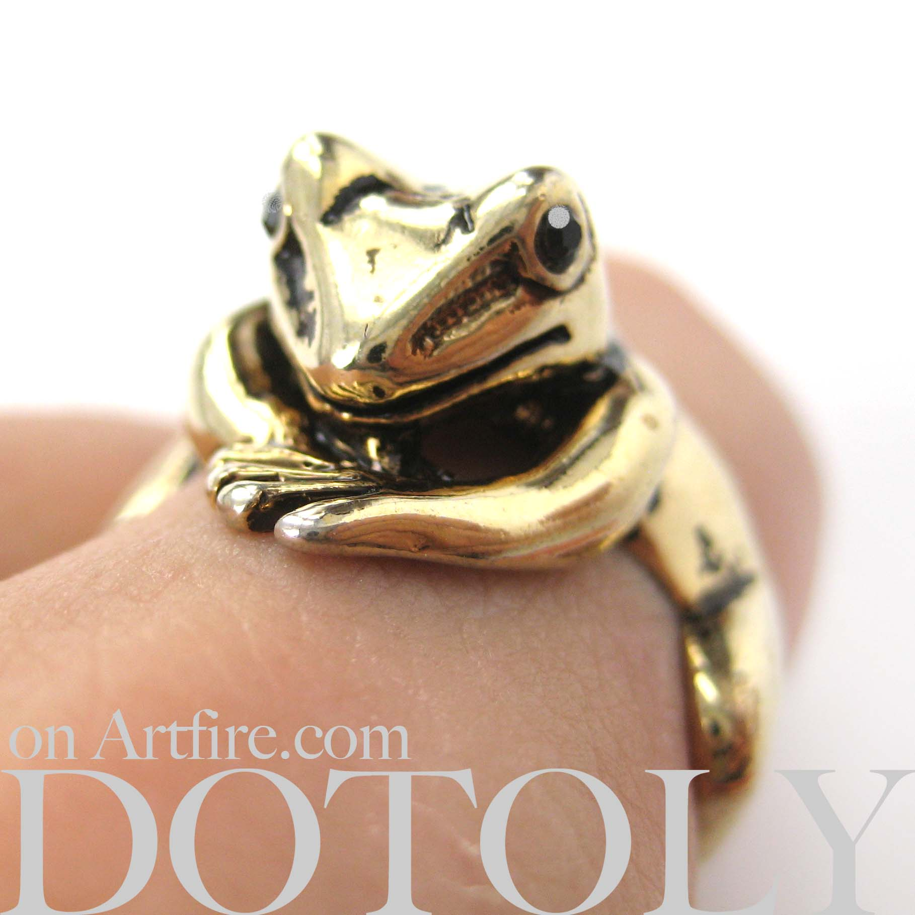 Miniature Frog Animal Wrap Around Ring in SHINY Gold in Sizes 4 to