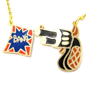 Illustrated Hand Gun Pistol and Flag With A Bang Shaped Pendant Necklace