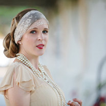 The Jordan - Champagne Lace and Sparkling Silver headband or Veil