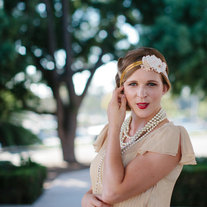 The Daisy - Lace and Gold Beaded Tie Headband