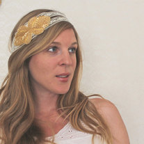 The Mae - Sparkling Gold and Lace Tie Headband or Halo