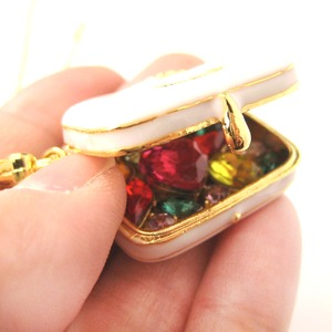 Limited Edition Travel Suitcase Bag Shaped Locket Full of Gems Necklace in White