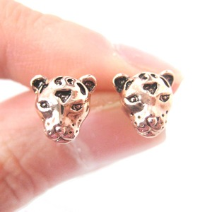 Realistic Leopard Cheetah Face Shaped Animal Rose Gold Plated Stud Earrings