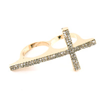 Gold Pave Cross Knuckle Ring