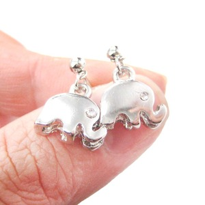 Elephant Silhouette Animal Shaped Dangle Drop Stud Earrings in Silver