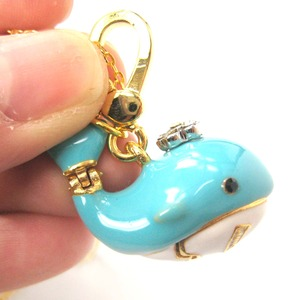 Limited Edition Whale Shaped Animal Pendant Necklace in Blue and Gold