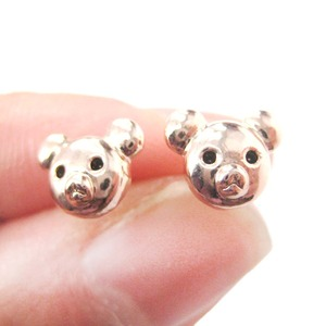 Small Cute Teddy Bear Shaped Animal Stud Earrings in Rose Gold