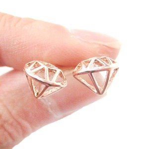 Classic 3D Diamond Shaped Outline Cut Out Stud Earrings in Rose Gold