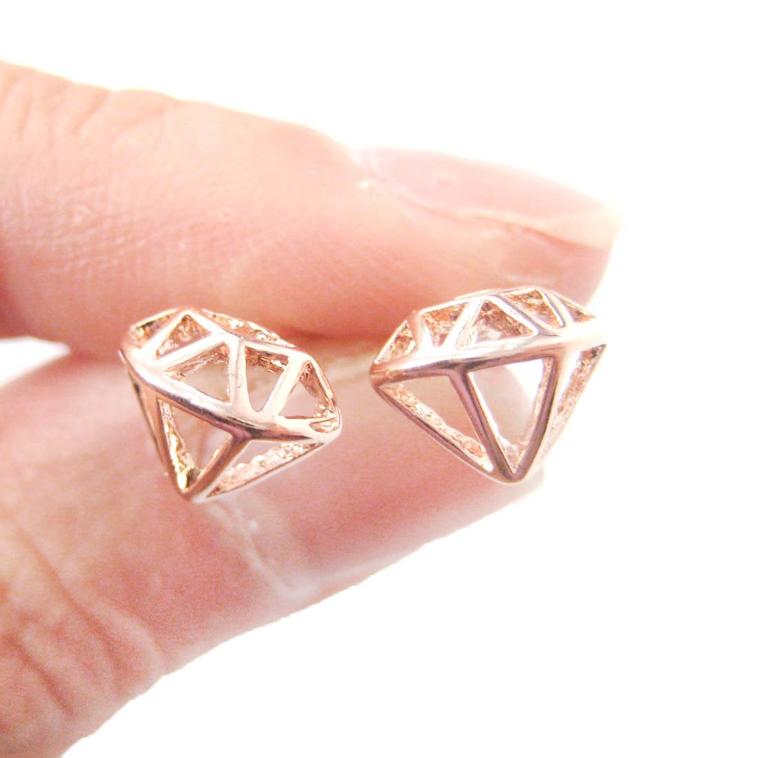 plated stud silver zoom glitz diamond shaped vintage en ae earrings fossil