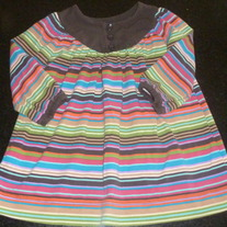 Brown/Multi Color Strip Top/Dress-Baby Gap Size 6-12 Months