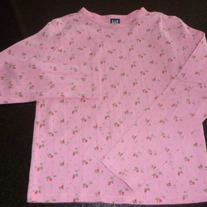 Long Sleeve Pink Shirt with Pink Flowers-Gap Size 10