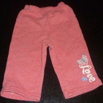 Pink Sweats say Love with Ruffle on Back-Childrens Place Size 12 Months