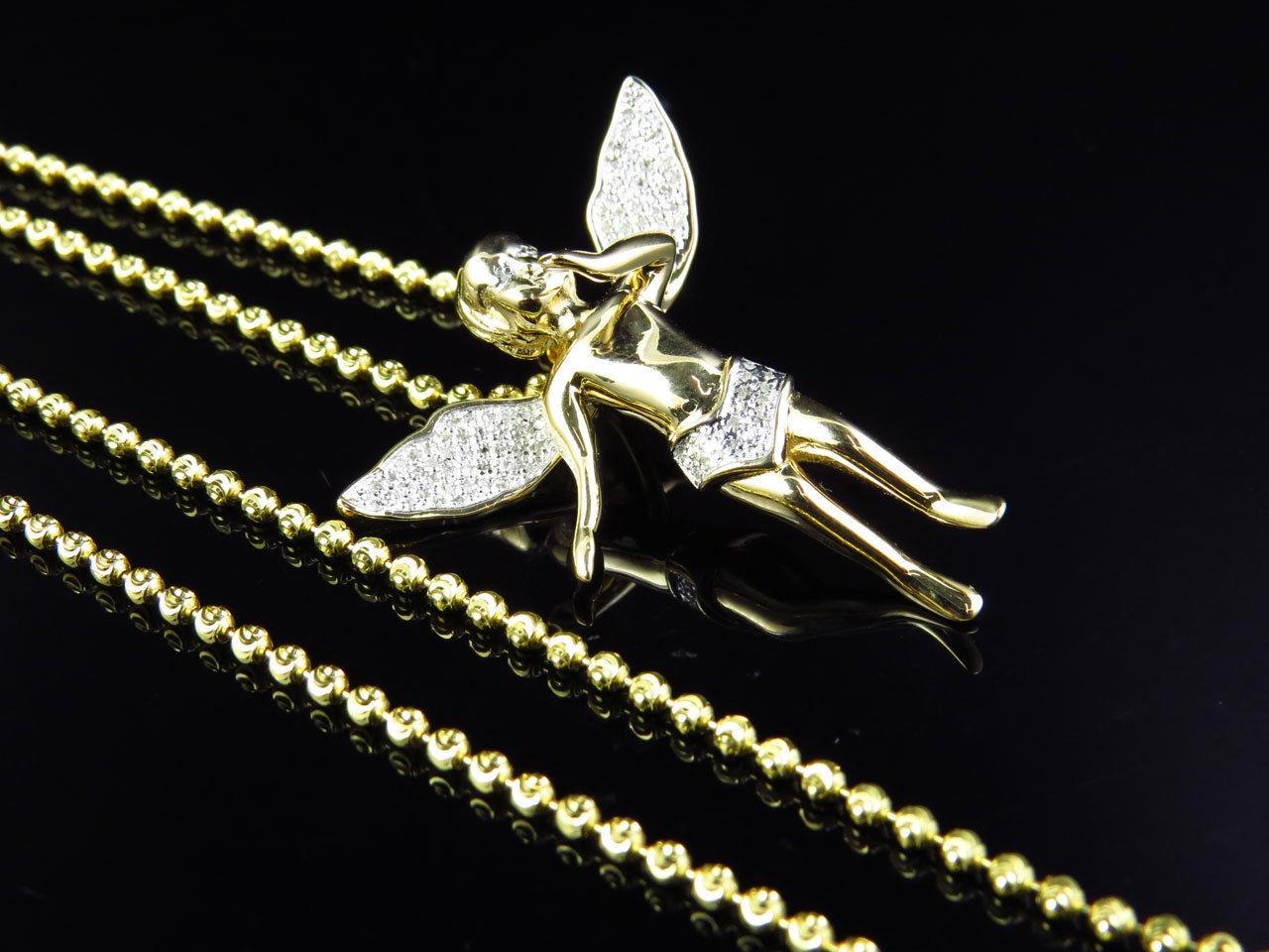 Yellow gold finish real diamond 3d angel pendant charm 50 ct with yellow gold finish real diamond 3d angel pendant charm 50 ct with moon chain aloadofball Gallery