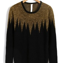Black Gold Gear Round Neckline Knitwear