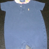 Navy Romper with Plaid Collar-Ralph Lauren Polo Size 18 Months