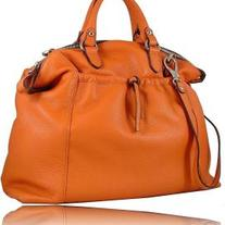 ITALIAN DESIGNER LEATHER TOTE BAG - ORANGE