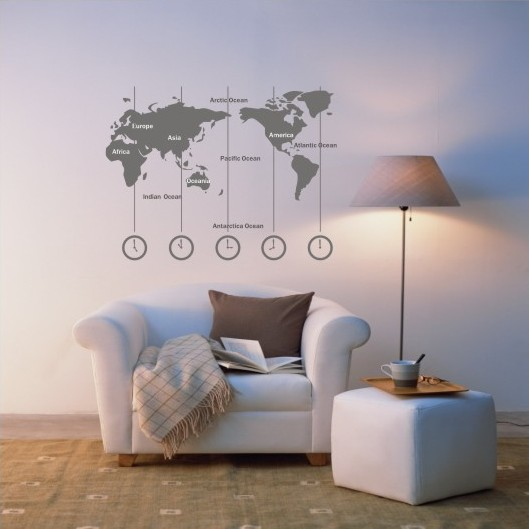 ... Removable Vinyl World Map Wall Decal Time Wall Art Clock Wall Sticker    Wold Map With ...