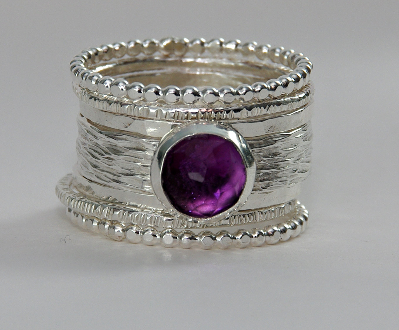 unique cut purple amethyst wedding ring 183 stackable