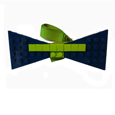 Personalized lego® bow tie  navy/lime green