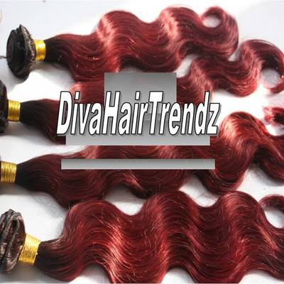 "18"" brazilian remy body wave dark to red ombre [3 bundles]"