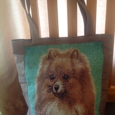 Pomeranian dog tapestry tote bag!