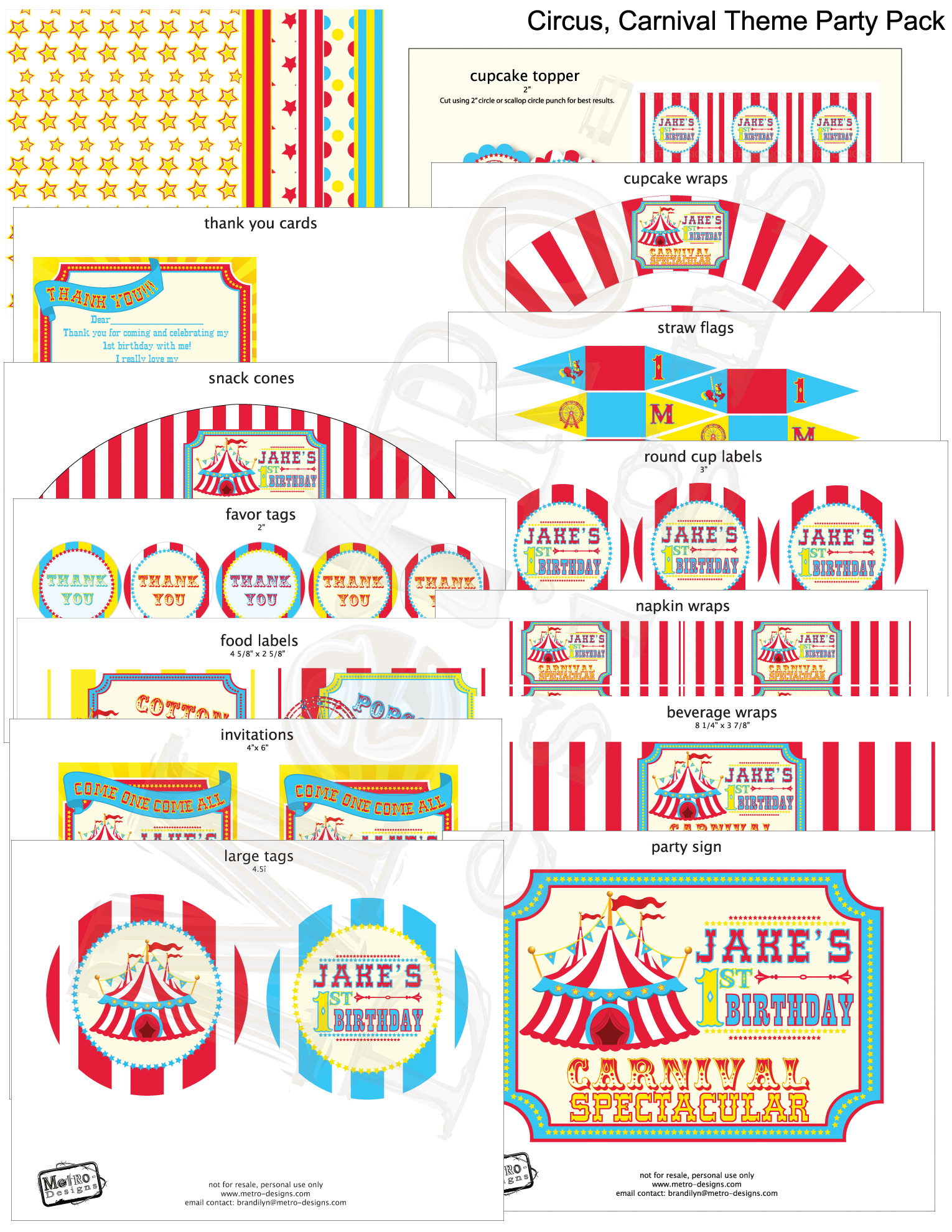 Circus or carnival party red yellow cyan on storenvy for Circus printables