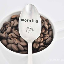 Morning Sunshine  -  Hand Stamped Vintage Coffee Spoon