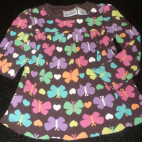 Brown Shirt With Butterfly's and Hearts-Jumping Beans Size 3T