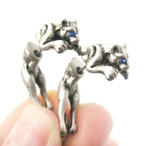 Unique Fake Gauge Tiger Leopard Shaped Animal Stud Earrings in Silver