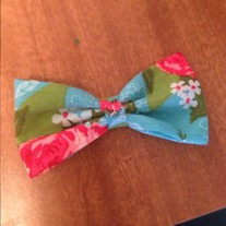 Blue w/ Pink Flowers Bow