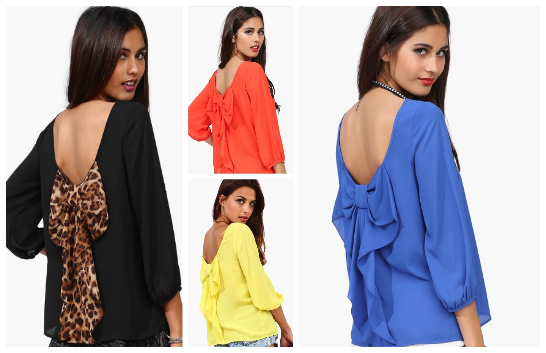 SM--XXL! New Loose Backless Bow Plus Size Tops Chiffon Long-Sleeve ...