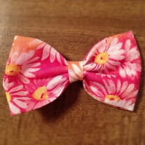 Pink and Orange Flower Bow