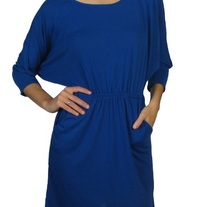Batwing Dress With Draped Chain Back - Blue