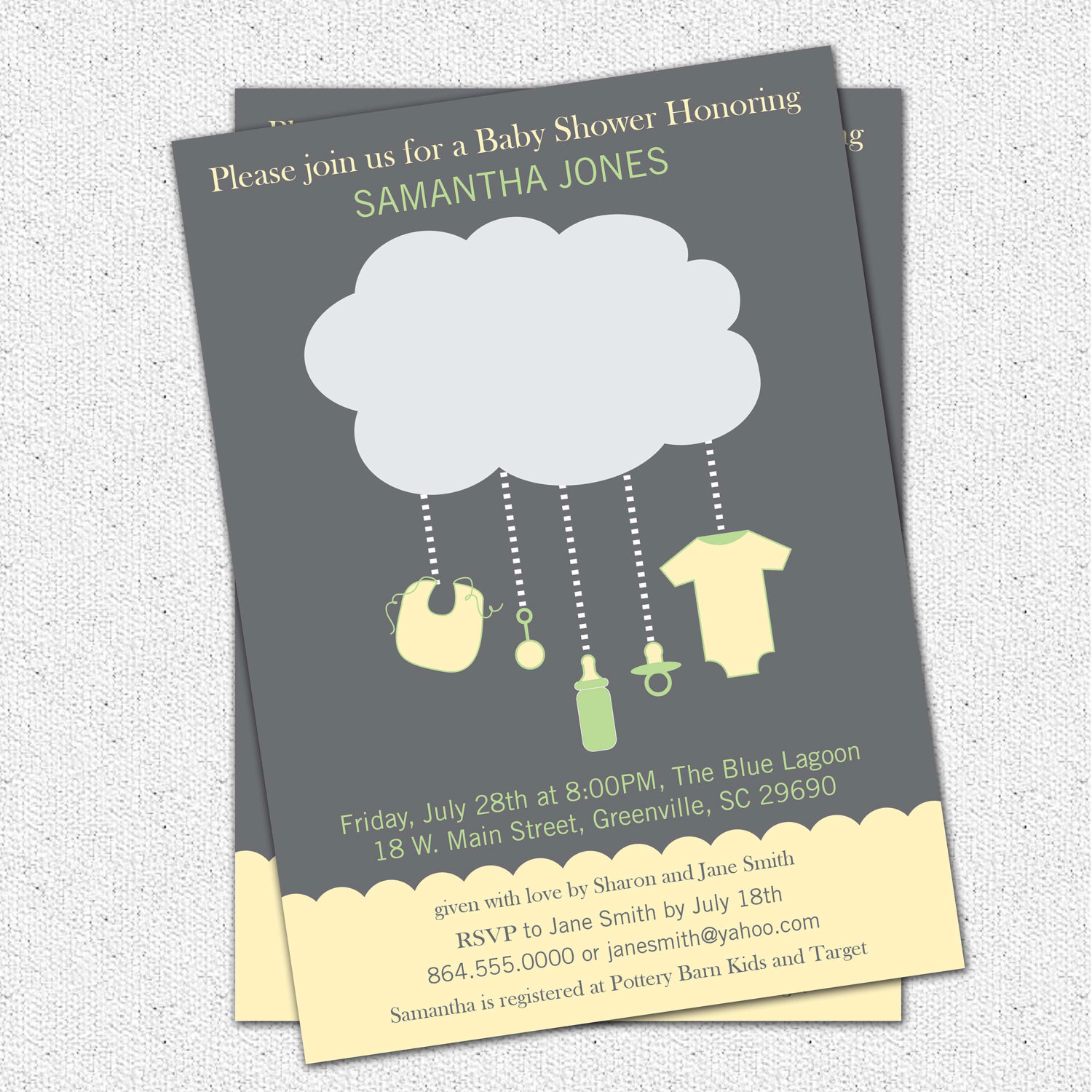 Rain Cloud Baby Shower Invitations, Gender Neutral Green, Yellow and ...