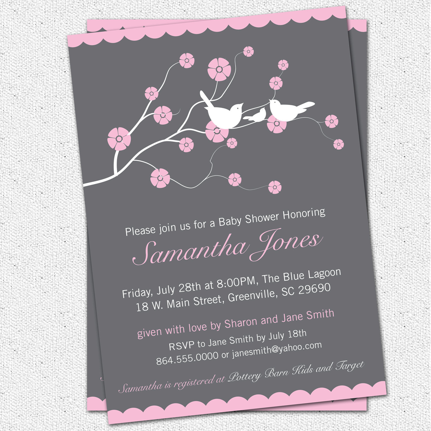 Baby Shower Invitations, Cherry Blossom, Birds, Girl, Pink, Charcoal ...
