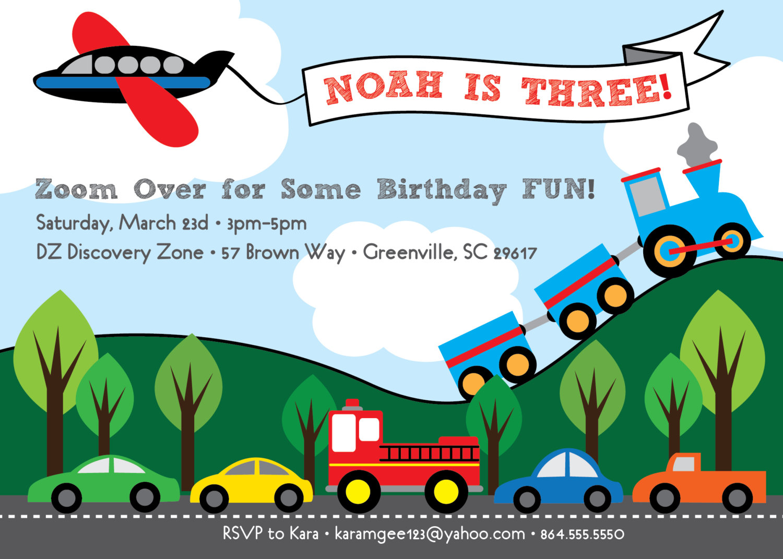 Transportation Birthday Invitations, Train, Plane, Automobiles ...