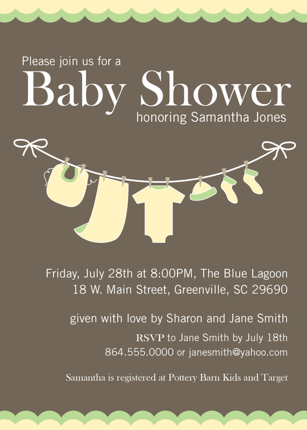 Baby shower invitations yellow green gender neutral clothesline baby shower invitations yellow green gender neutral clothesline set of 10 filmwisefo
