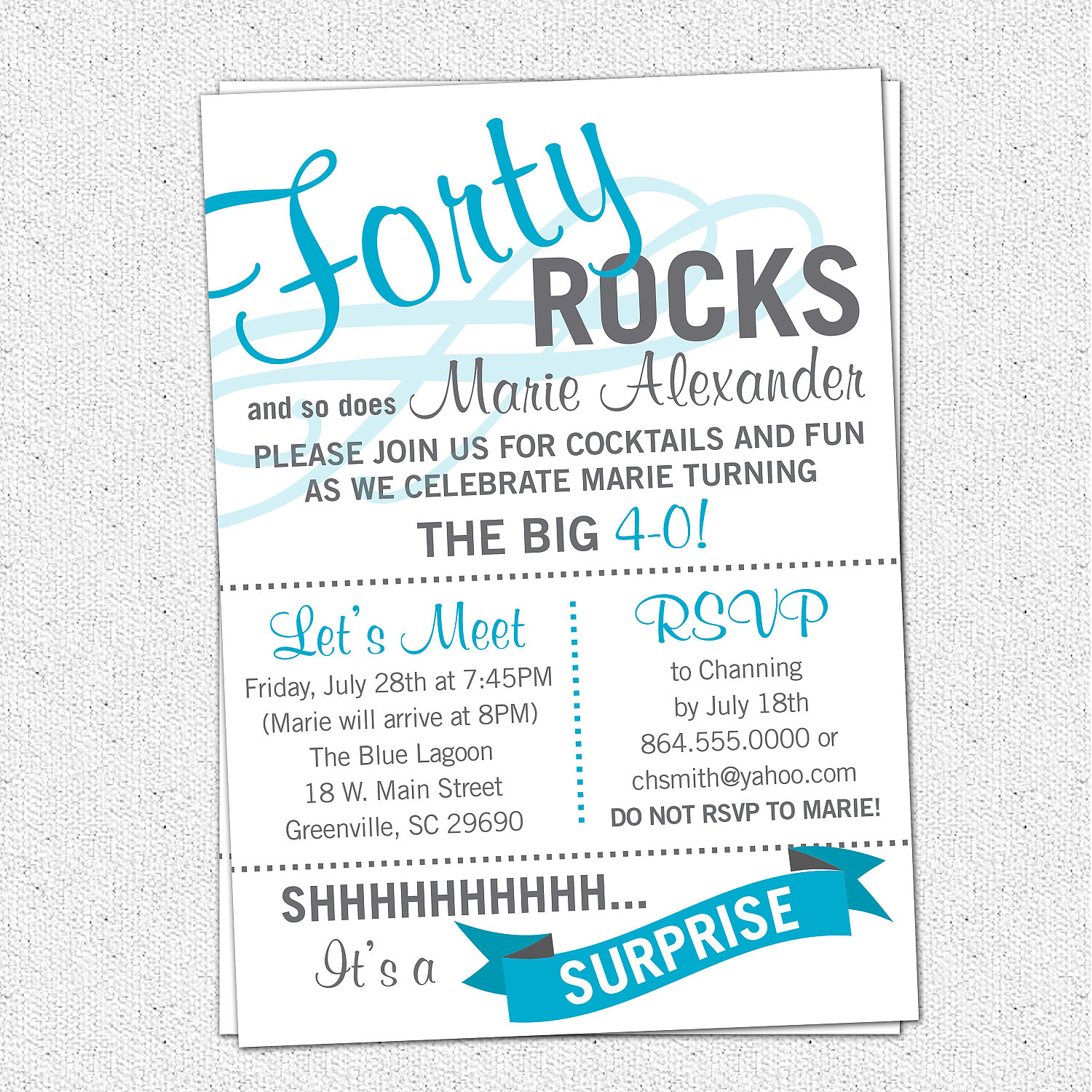 Forty ROCKS Birthday Party Bash Invitation Surprise Milestone
