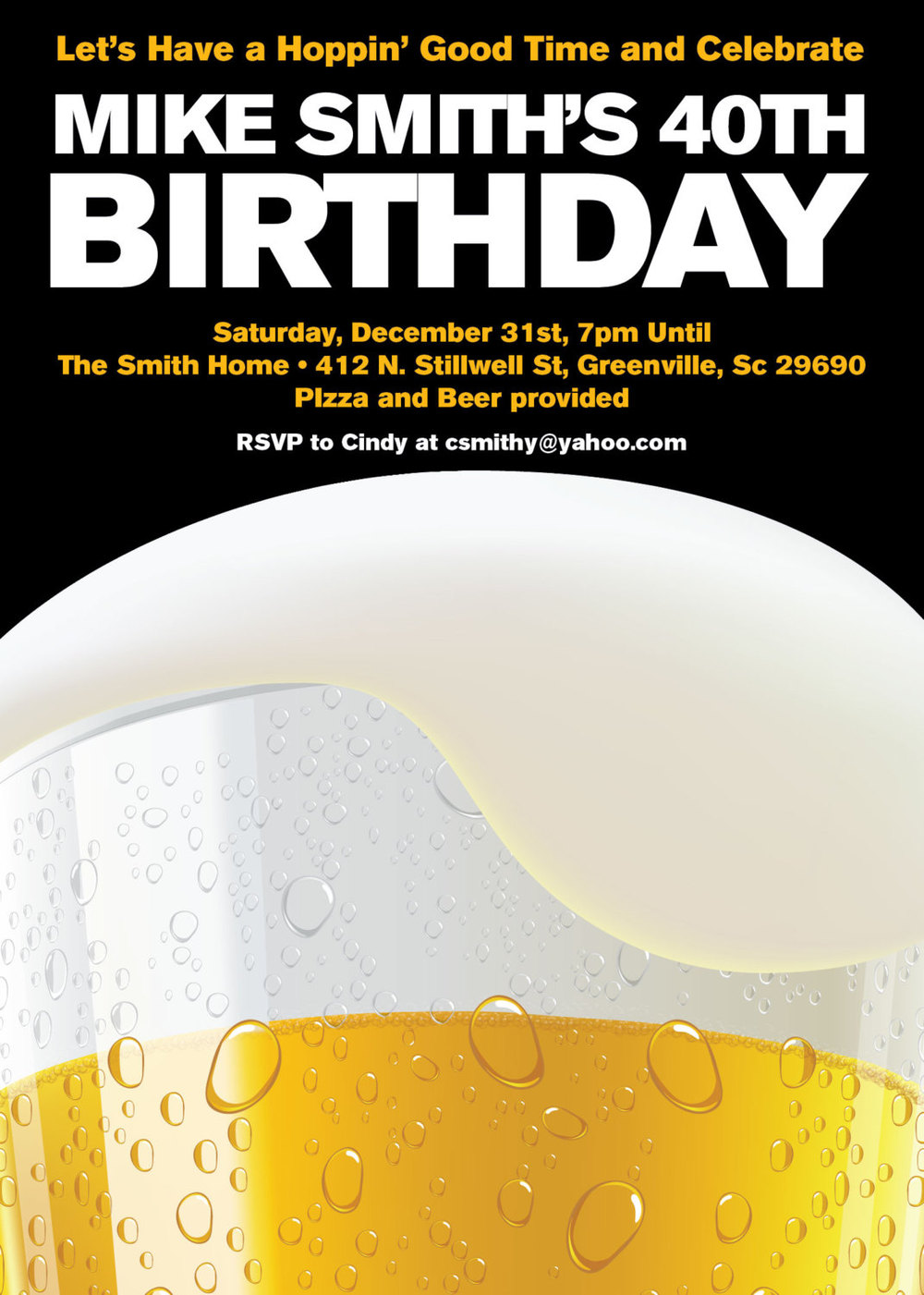 Beer Party Invitations Birthday 21st 30th 40th Milestone SET – Beer Party Invitations