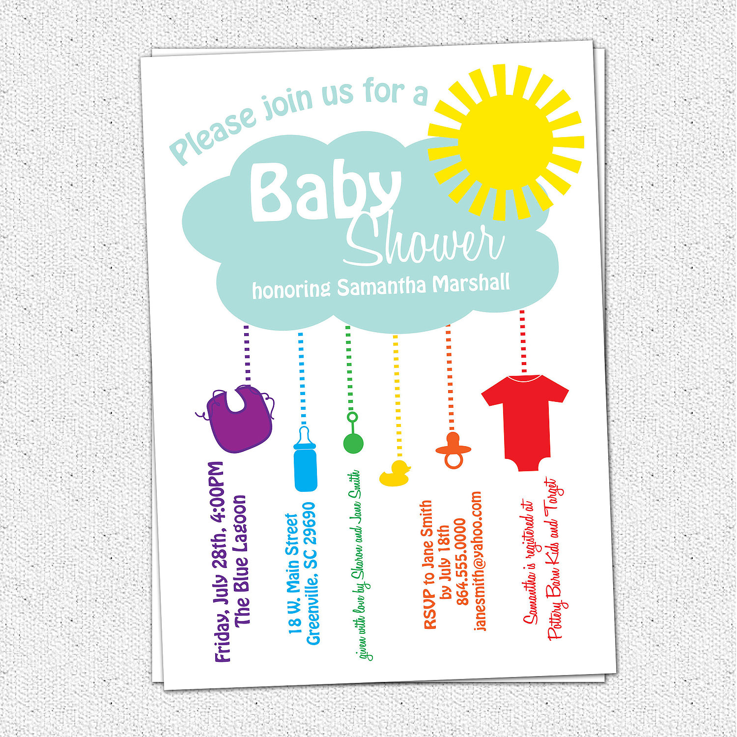 Baby Shower Invitations, Rain Cloud, Sunshine, Rainbow, Gender ...