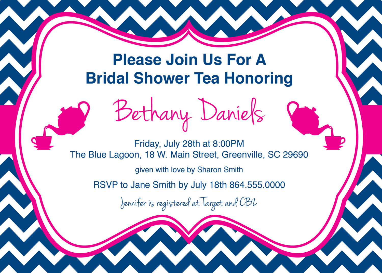 bridal baby shower birthday party invitations tea chevron