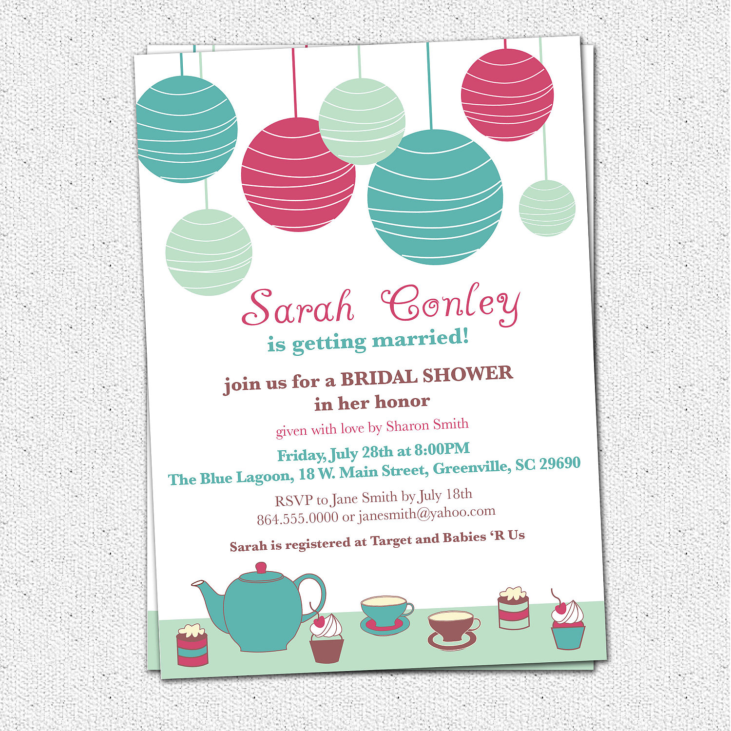 Bridal Shower Invitations Tea Brunch Lanterns Cupcakes Custom