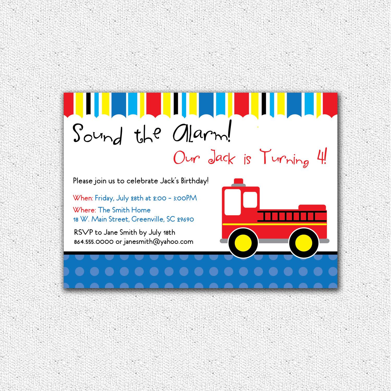 Firetruck Fireman Birthday Invitations, Child, Kid Party, SET OF 10 ...