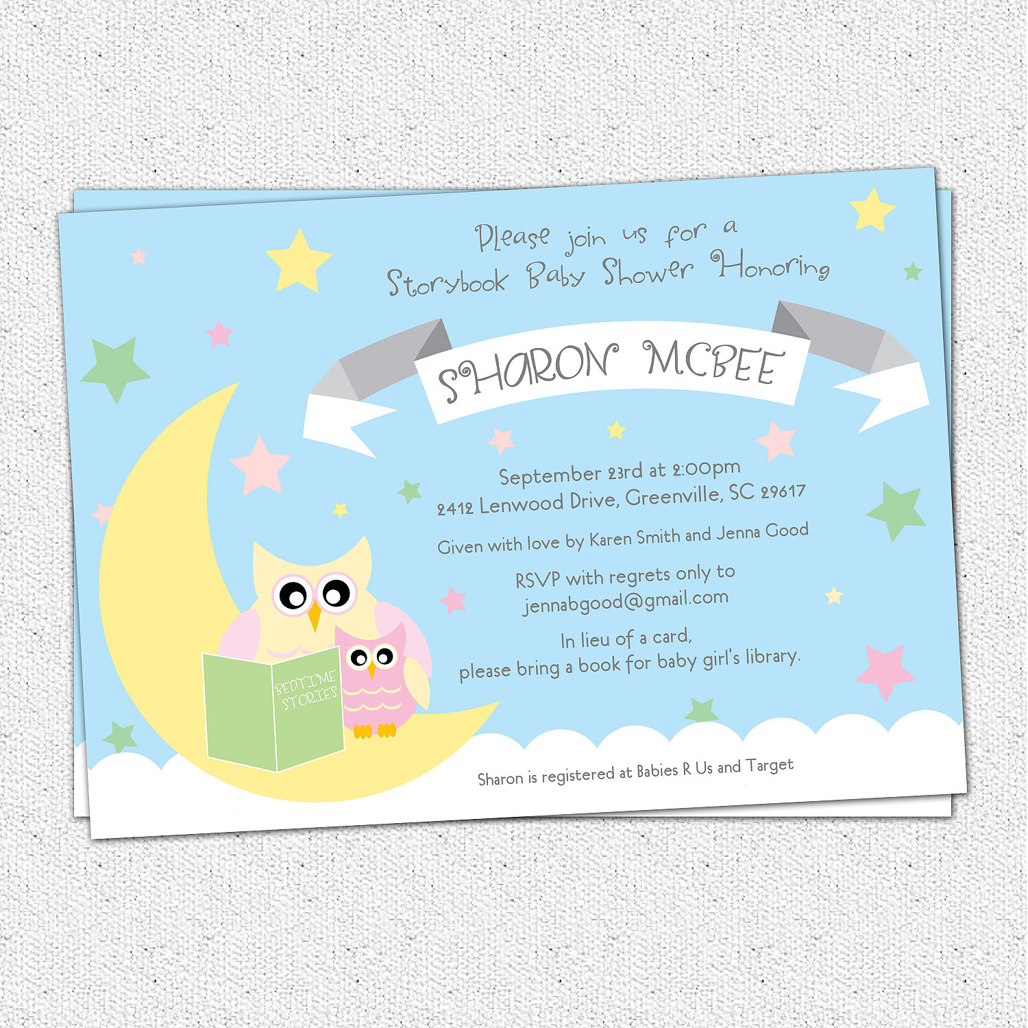 In Lieu Of A Card Bring A Book Baby Shower Part - 39: Baby Shower Invitations, Story Book Themed Mom And Baby Owl, Moon And Stars,