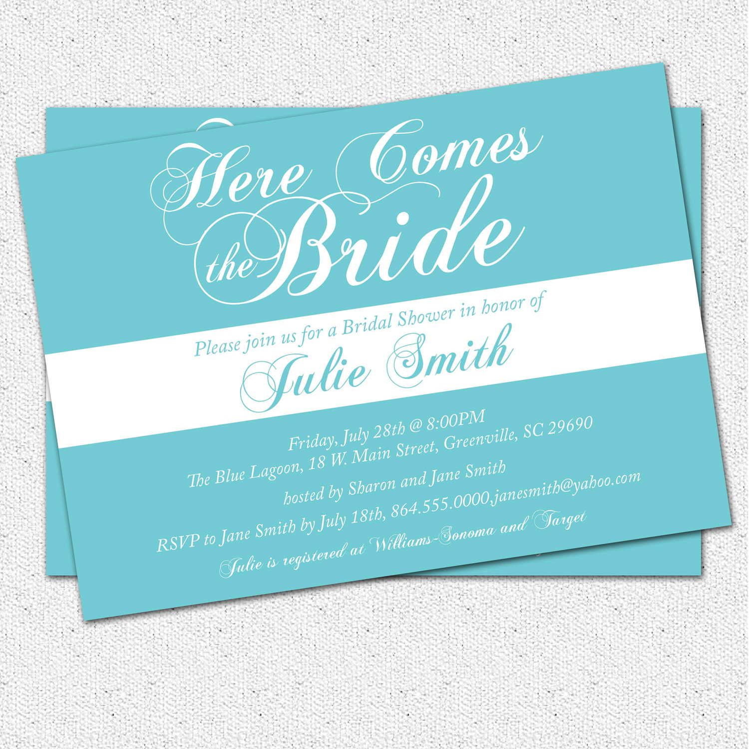 Bridal shower invitation calligraphy here comes the bride bridal shower invitation calligraphy here comes the bride personalized custom set of 10 filmwisefo Images