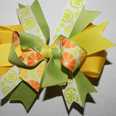 Lemon and lime boutique hair bow